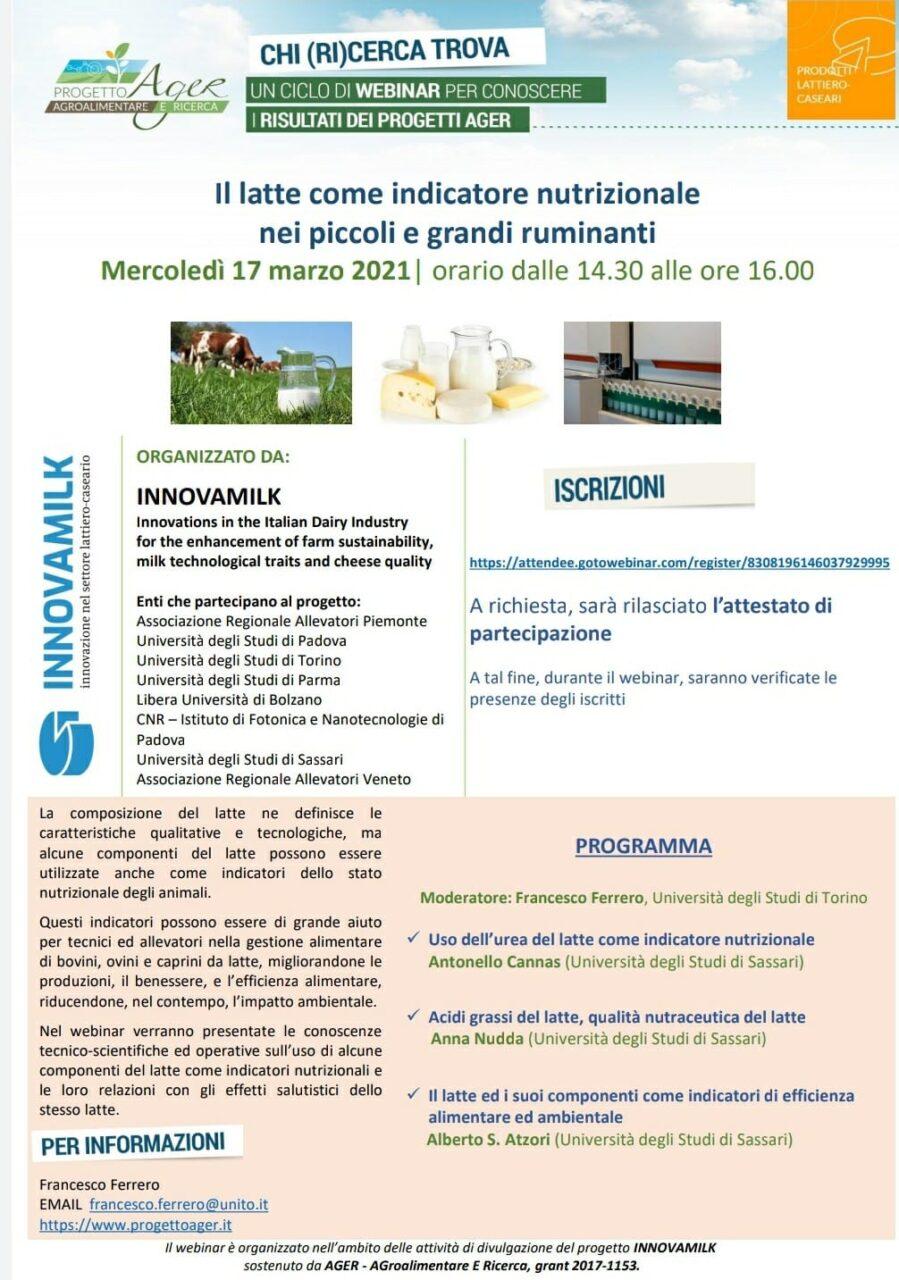 progetto innovamilk webinar consulenza latte